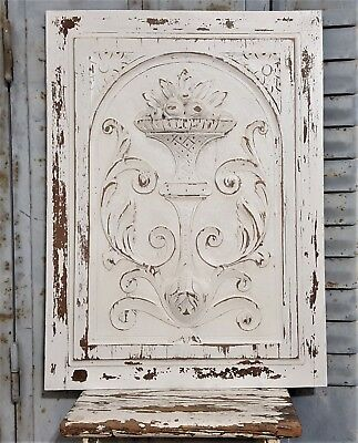 Shabby Weathered White Painted Carved Wood Panel Antique French Salvage Carving