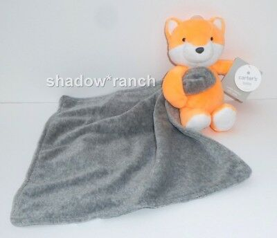 NWT Carters Orange Fox Grey Gray Security Blanket Plush Baby Rattle Lovey Toy