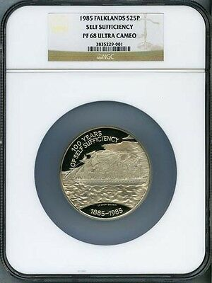 Falkland Islands 1985  25 Pounds Silver Coin, Gem Proof, Certified Ngc Pf-68
