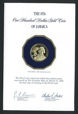 Jamaica 1976 Horatio Nelson 100 Dollars Proof Gold Coin, In Original Packaging!