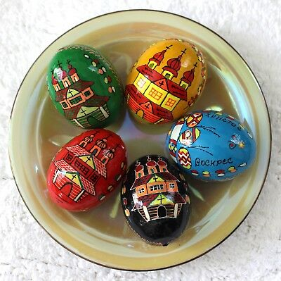 Ukrainian Set 5 Wooden Painted Easter Eggs Pysanka Chicken Size Orthodox Church