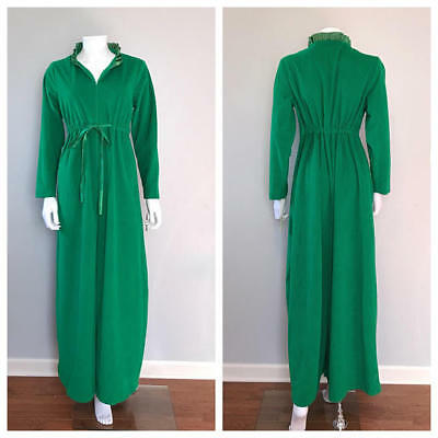 Vintage Green Jumpsuit Lounge Wear Palazzo Pants Wide Leg One Piece Jumper Tags