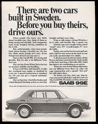 1972 Saab 99E car photo Drive Ours before buying the other Swedish car print ad