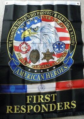 American Heroes First Responders Polyester Banner Flag 29 X 42