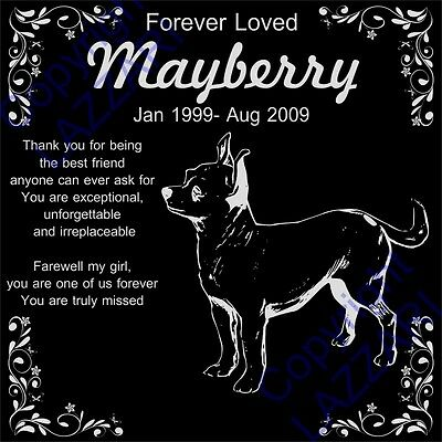 "Personalized Chihuahua Pet Dog Memorial 12""x12"" Engraved Granite Grave Marker"