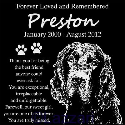 Personalized Gordon Setter Dog Pet Memorial 12x12 Granite Grave Marker Headstone