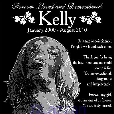 "Personalized Irish Setter Pet Dog Memorial 12""x12"" Custom Granite Grave Marker"