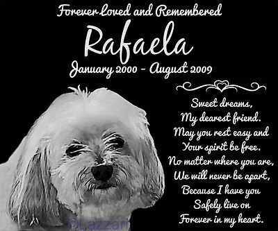 Personalized Havanese Dog Pet Memorial 12x10 Granite Headstone Grave Marker