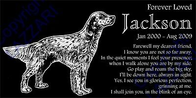 "Personalized English Setter Pet Dog Memorial 12""x6"" Custom Granite Grave Marker"