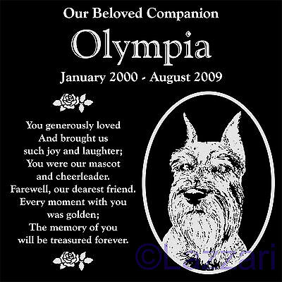"Personalized Schnauzer Dog Pet Memorial 12""x12"" Engraved Granite Grave Marker"