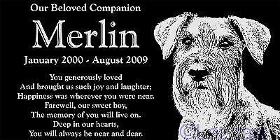 "Personalized Schnauzer Pet Dog Memorial 12""x6"" Engraved Granite Grave Marker"