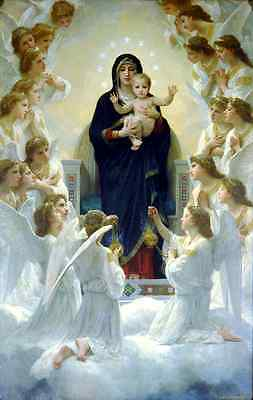 """oil painting handpainted on canvas"""" the Virgin Mary,baby,angels """"@brg271"""