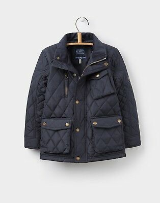 Joules Boys Jnr Stafford Biker Style Quilted Coat in Navy - BNWT