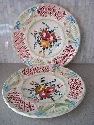 """Vintage ITALIAN M & R SET OF 2 RETICULATED CUTOUT DISPLAY 8+"""" PLATES ITALY"""