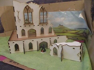 28mm White Gothic Church Ruin 1 or Sci-fi building 40k Scenery Buildings MDF