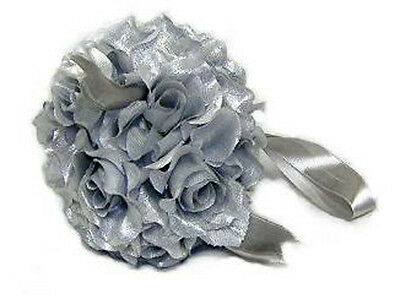 Flower Balls ~ Silver ~ Wedding Centerpieces 25th Anniversary Party Kissing Ball