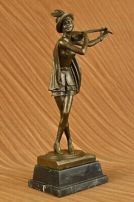 Real Bronze Metal Statue Woman Musician Playing Ancient Banjo Greek Aldo Vitaleh