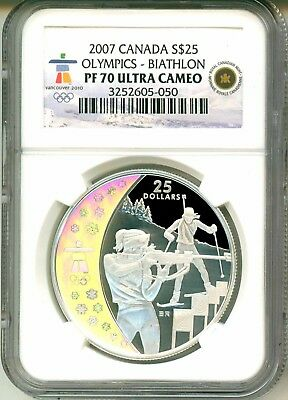 2007 Canada S$25 Vancouver Olympics Biathlon Hologram NGC PF70 Ultra Cameo