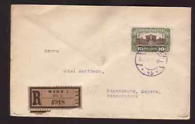 Austria 1920 registered cover to Germany with solo 10 Kronen stamp