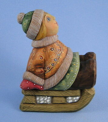 G. DeBrekht Happy Winter Ride Russian Girl on Sled Rare Retired