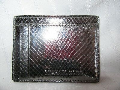 ac21e9a059f8bf Michael Kors Money Pieces Pewter Metallic Embossed Leather Card Case NWT  60% OFF
