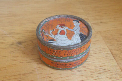 1920s THREE FLOWERS FACE POWDER RICHARD HUDNUT CARDBOARD TIN