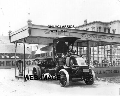 1915 Shell Oil Gas Station Old Truck Photo San Francisco California Automobilia