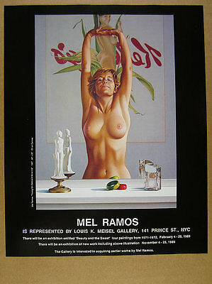 1989 Mel Ramos 'girl before a mirror #2' painting exhibition vintage print Ad