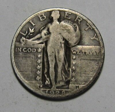 1928 D Standing Liberty Quarter - Very Good to Fine Condition - 56FR