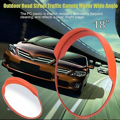 """18"""" Outdoor Road Traffic Convex PC Mirror Wide Angle Driveway Safety&Security S"""