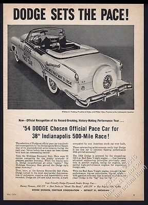 1954 Dodge convertible Indy 500 pace car photo vintage print ad