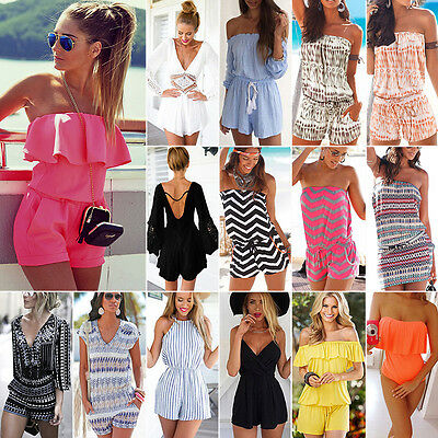 Women's Holiday Mini Playsuit Clubwear Ladies Jumpsuit Romper Summer Beach Dress