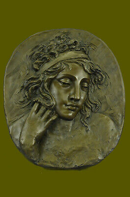 Bronze Sculpture Statue Hand Made Detailed Very Large Woman Bas Relief Home Deco