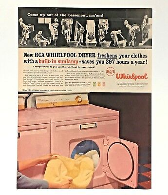 1957 Whirlpool Pink Dryer Advertisement RCA Laundry Washer Vintage Print AD