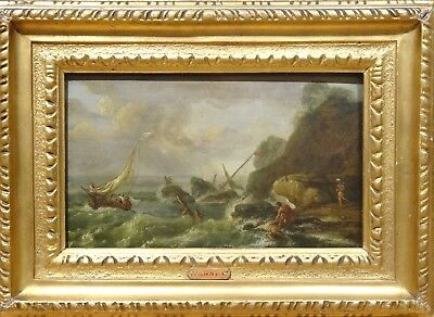 18th Century French Shipwreck Old Master Marine Antique Painting JOSEPH VERNET