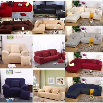 1 2 3 4 Seater Stretch Elastic Fabric Sofa Cover Slipcover Loveseat Couch Covers