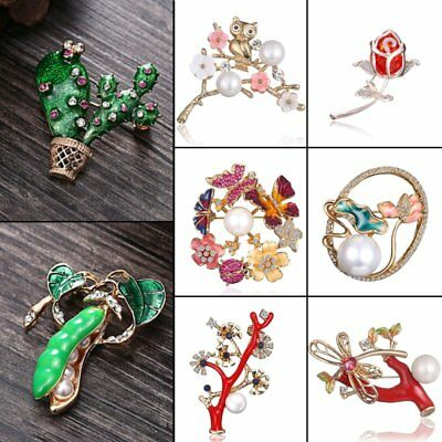 Wedding Bridal Cactus Flower Butterfly Pearl Crystal Brooch Pin Women Jewelry