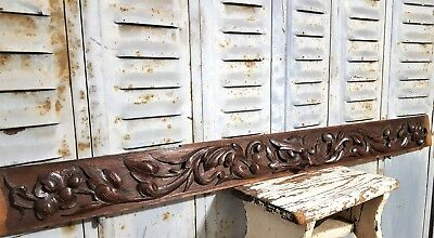 Green Man Figure Pediment Antique French Hand Carved Wood Architectural Salvage