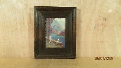 Vintage Mahogany Wooden Framed Oilette Print Mountains Nude Ladies Doves Signed