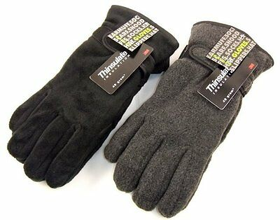 Mens Thinsulate Lined Polar Fleece Thermal Winter Gloves M/L L/XL