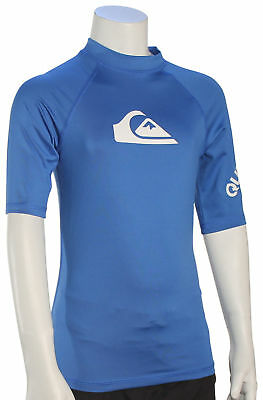 Quiksilver Boy's All Time SS Rash Guard - Electric Blue - New