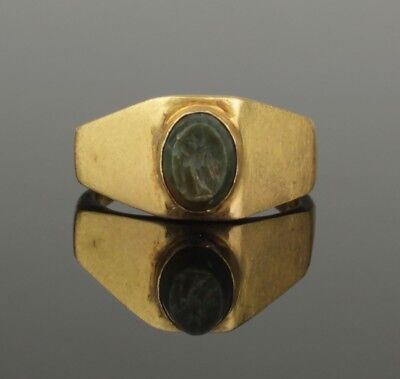 "ANCIENT ROMAN GOLD INTAGLIO RING ""HERMES"" - 2nd Century AD"