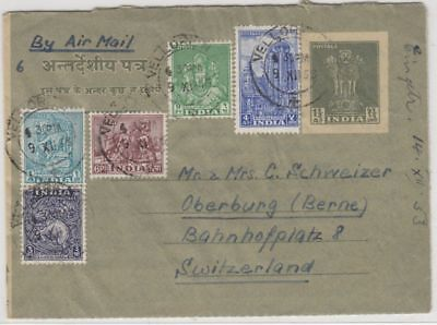 India - 1 1/2 A. Aerogramme uprated to SWITZERLAND 1953, Vellore - Oberburg