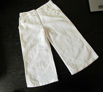 THE LITTLE WHITE COMPANY Girls White Summer Linen Mix Trousers age 2-3
