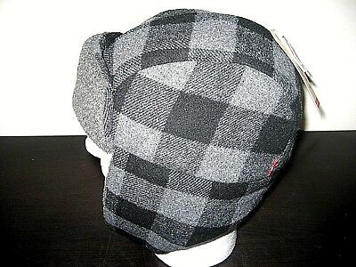 144ec1d42a8 Levi s Sherpa Wool Lined Mens Trapper Hat Black Plaid Size S M NWT Ships  Free