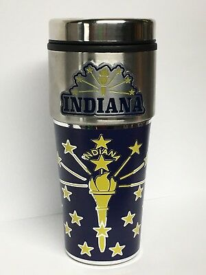 Indiana State Travel MUG cup Silver, Yellow, Blue & GOLD, Pence, Nice Pre-Owned