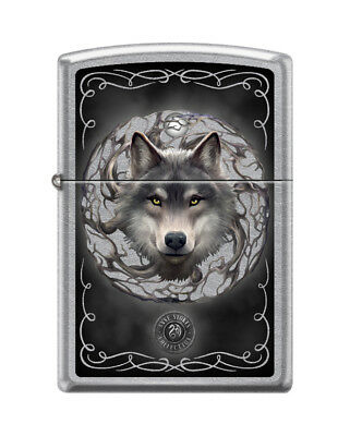 Zippo 5812, Anne Stokes-Wolf & Moon, Street Chrome Lighter.**Extra Flints/Wick**