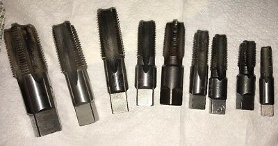 "LOT OF 9 HSS G PIPE TAPS 1/8""-27 NPT TO 3/4""-14 NPT.  All In Great Condition!"