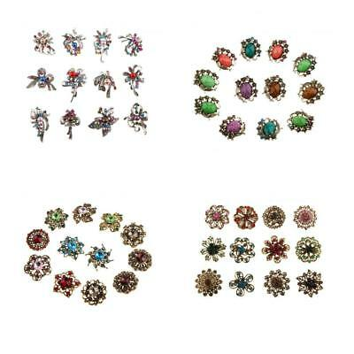 12pcs Vintage Bronze Alloy Metal Mixed Crystal Rhinsetone Brooch Collar Pins