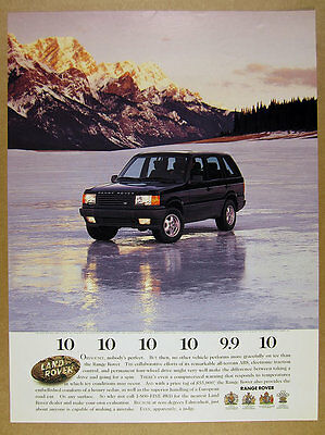 1996 Range Rover on frozen lake ice color photo Land Rover vintage print Ad